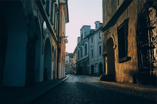 stock image of street and buildings